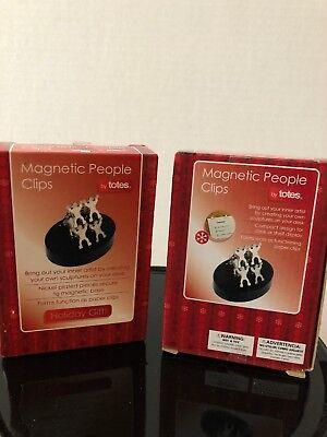 Six Magnetic People Paper Clip W Base Desktop Office Gadget Toy Set Of 2