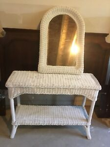 White Wicker Mirror and Matching Table