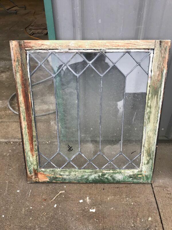 Pa 14 Antique leaded glass window 22.25 x 32.5