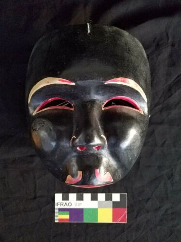 Vintage Early 1950s Indonesian Ethnographic Black Doyok Topeng Theatre Half Mask