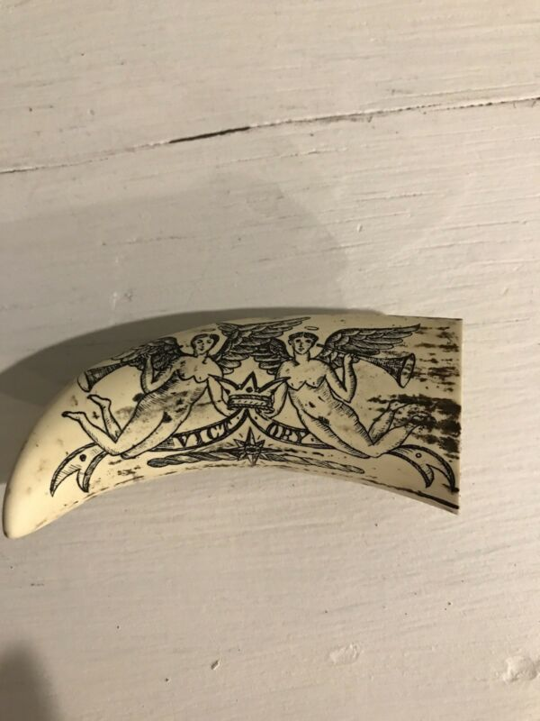 Vintage Victory Angels Faux Resin Scrimshaw Whale Tooth