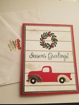Christmas card kit, Stampin Up, papertrey, red, truck, woodgrain, wreath ()