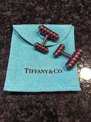 MINT Tiffany & Co Sterling Silver with Red Enamel Picasso Groove Cufflinks