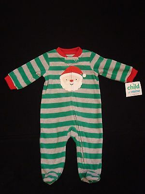 New CARTER'S CHILD OF MINE Boys Sz 6-9 Month Santa Fleece Footed Sleeper Pajamas