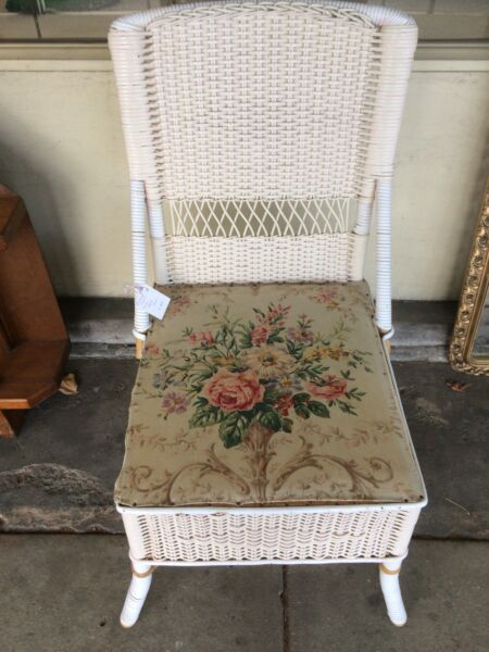 VINTAGE RETRO Floral Cane Wicker Chair , Patio Sunroom Chair 50s ...