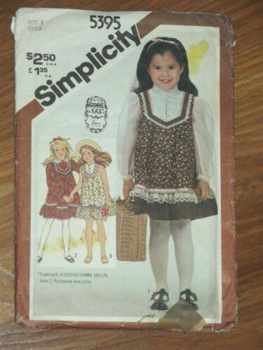 Simplicity 5395 Gunne Sax by Jessica Dress Cottagecore BOHO Girl Size 3 VTG