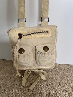 Abercrombie Fitch Canvas Ivory White Pink Satin Small Pocket Bag Crossbody Purse Ivory Satin Purse