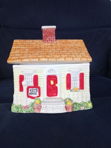 """Used Ceramic Nestle Toll House Cookie/ Candy Jar 9"""" long 8"""" wide 9"""" height"""