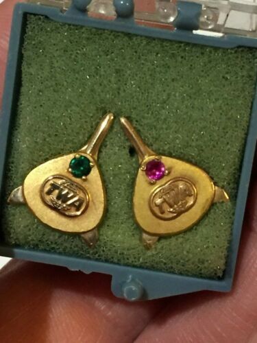 2 x TWA Service Pin 10K Gold and Golf Filled Faux Stones Airline VTG Stewardess