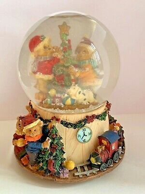 Musical Holiday Snow Globe Bears Decorating Christmas Tree Toy Train Set Base