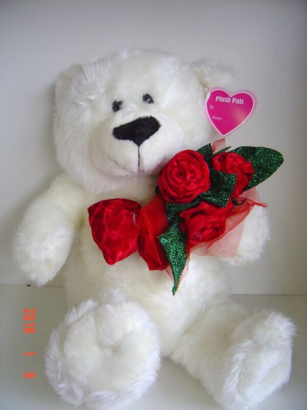 "PLUSH Teddy White BEAR 15"" COLLECT GIFT Valentine LOVE Valentines RED ROSES"