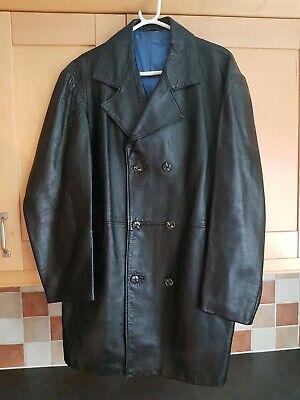Black Genuine Leather Mens Jacket / Coat, Good Condition, Size Uk Large