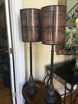 Theodore Alexander Pr Verdi Brass Candlestick Lamps Faux Book Decoupage Shade ()