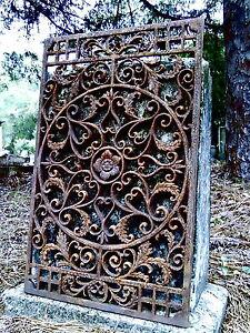 FAMOUS CAST IRON FLEUR DE LIS FRENCH ORNATE GRATE HEAVY GARDEN GATE PANEL  FENCE
