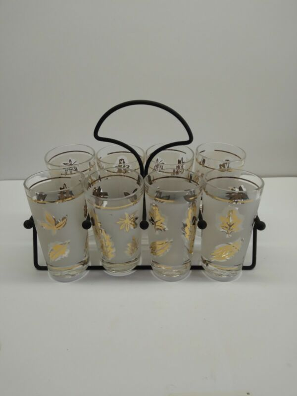 Vintage Libbey Gold Leaf Drinking Glass With Carrier
