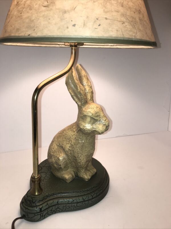 "BUNNY TABLE LAMP Yellow Resin Bunny Green Wood Base Paper Leaf Shade 20"" Tall~"
