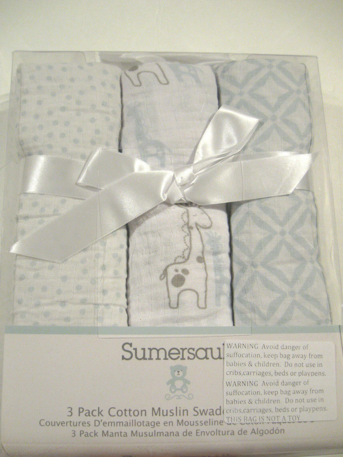 Sumersault Baby Boy 3 Cotton Muslin Swaddling Receiving Blankets