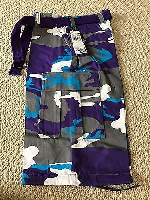 NWT Men's Regal Wear Purple Gray Camouflage Camo Belted Cargo Shorts ALL (Wear Camo Shorts)