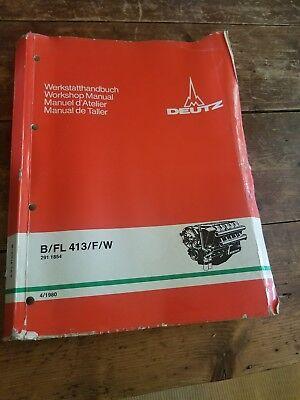 Deutz Bfl 413fw Air-cooled Diesel Workshop Shop Manual 291 1854 41980
