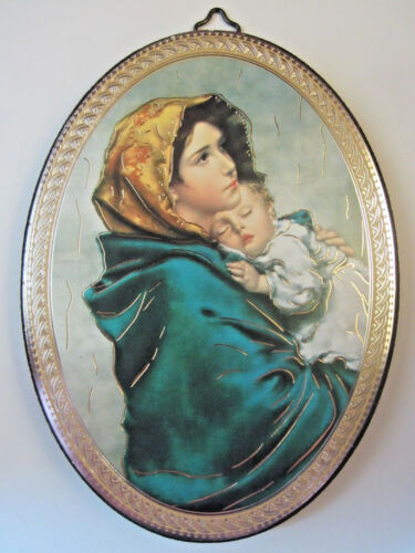 """Madonna of the Streets Icon Picture on Wood Oval 5 3/4"""" Made in Italy"""