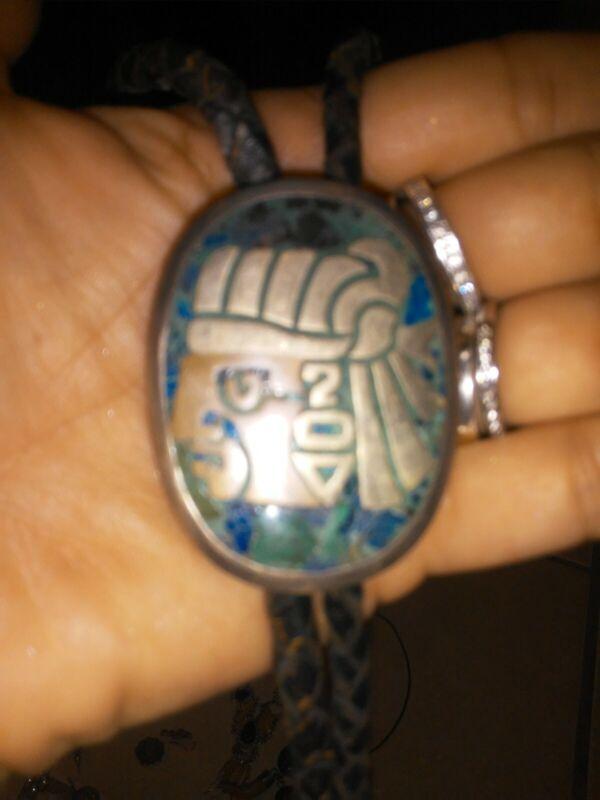SH Metales Taxco Mexico Mixed Metals Figural Aztec Bolo Tie