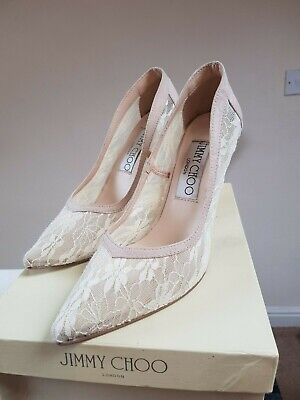 Jimmy Choo London Shoes Lace and Satin 38.5