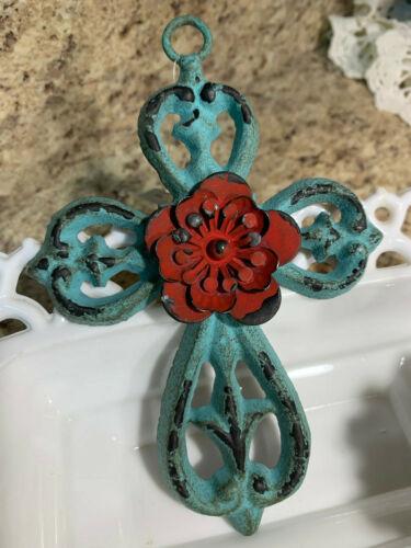 """R-Metal Aqua Cross w/ Rose Wall Decor Rustic Look Ornate Small 6-1/4"""" Tall HL5"""