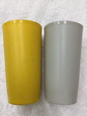 Tupperware Set Of 2 Tumbler Yellow & Grey 873 Cups Lot Classic Vintage