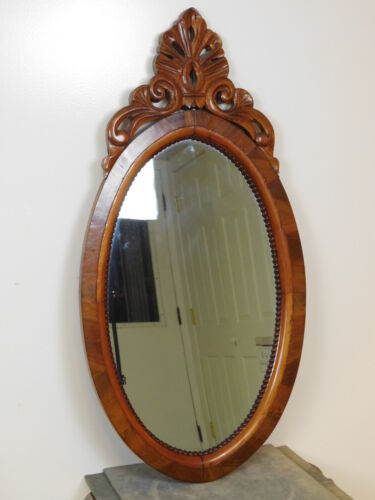 Antique 1840s Solid Mahogany Fancy Carved Empire Dressing Console Oval Mirror