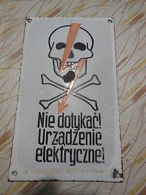 Vintage Skull and Crossbones Lightening Danger Porcelain Sign Original