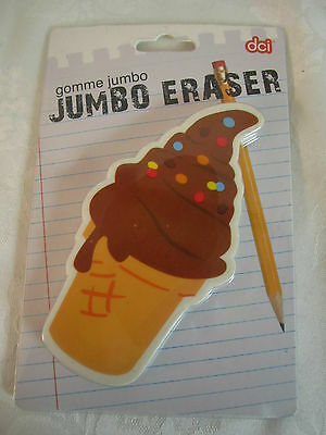 Cute Ice Cream Cone Jumbo Eraser Paperweight New