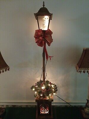 Christmas Victorian Lamp Post Holiday Time Clear Lighted 4' Indoor Outdoor Light