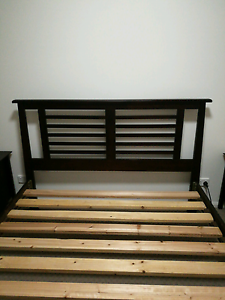 Queen Size Bed Dark Wood Wakerley Brisbane South East Preview