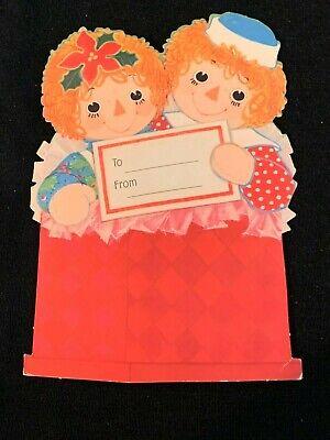 Vintage 1970s Hallmark Raggedy Ann & Andy Gift Label Greeting Card Trim Package Hallmark Gift Trim