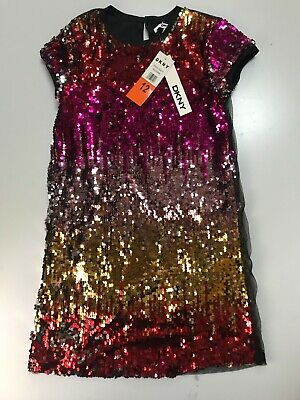 DKNY Girls Multi Colored  Sequin Holiday Dress Size 7 10 or 12