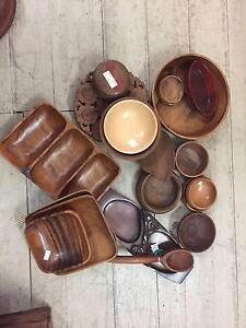 Vintage 1970's 1980's wooden bowls dishes trays chopping boards Queenstown Port Adelaide Area Preview