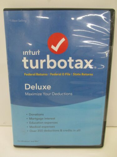 Intuit TurboTax 2018 Deluxe Federal E-File State CD Windows and Mac