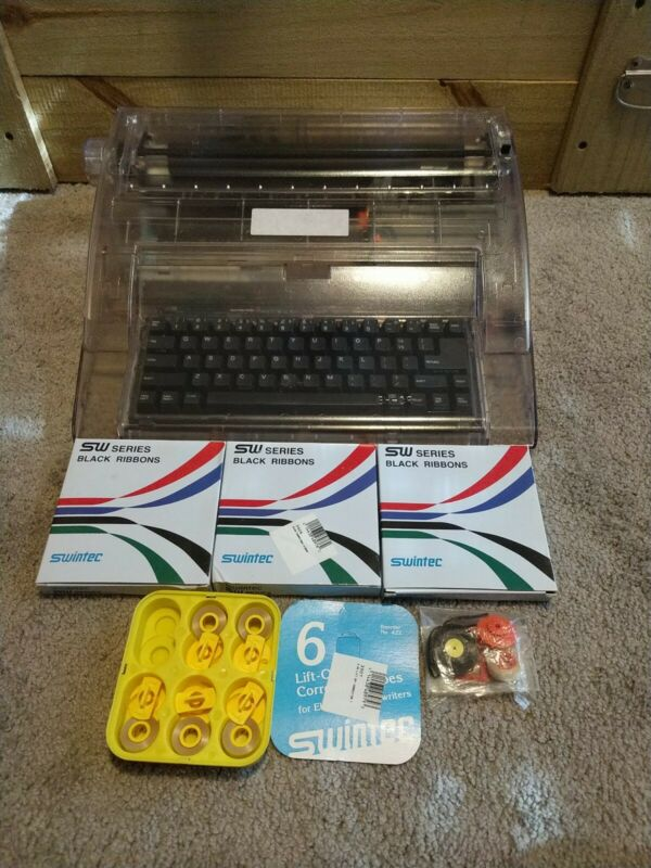 Swintec 2410cc Clear Cabinet Electronic Typewriter Bundle with Ribbons *Tested*