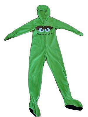 Cookie monster Sesame Street Womens S 3/5 Costume Lime Green Zip Footies Hood