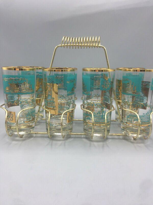 Mid Century 8 Teal Gold Steamboat Paddle Tall 12 Oz Glasses & Carrier Bar Ware