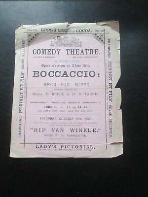 1882 COMIC OPERA BOCCACCIO COMEDY THEATRE PROGRAMME