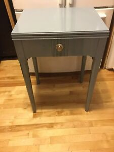 Blue tall bedside tables - available