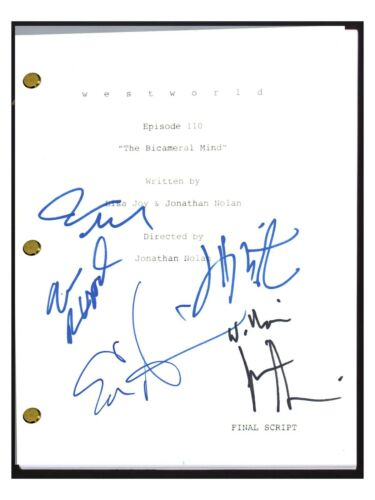 WESTWORLD Cast Signed Autographed The BiCameral Mind Episode Script Wood +4 COA