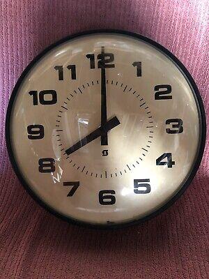 "Nice Vintage 14"" Simplex School Clock Complete/parts Untested Glass Face"