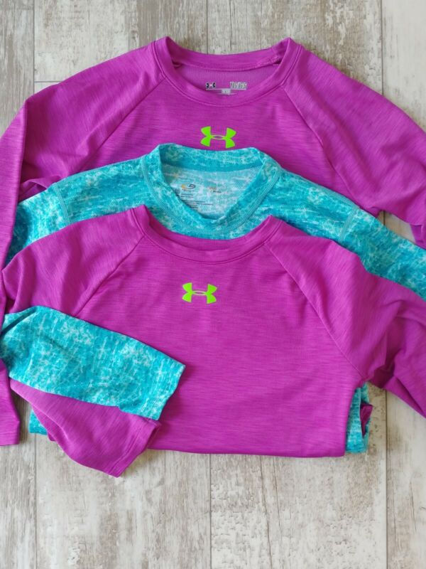 Lot of 3 Under Armour Cold Gear YLG Youth Large Shirt  Fitted 2 UA 1 Champion