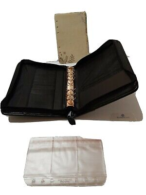 Classic Franklin Covey Black Leather Gold Rings 1.125 Zip Planner Binder Extra