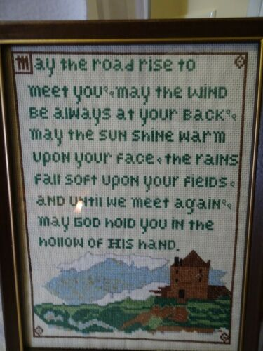 Irish Blessing Finished Cross Stitch Picture Vintage Framed Under Glass-Velvet