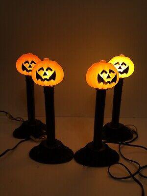 4 Vintage Halloween Blow Mold Pumpkin Jack-O-Lantern Candle Stick Lights