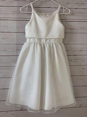 US ANGELS Girls Size 8 Chiffon Sleeveless Dress White Communion Flower - White Chiffon Flower Girl Dress