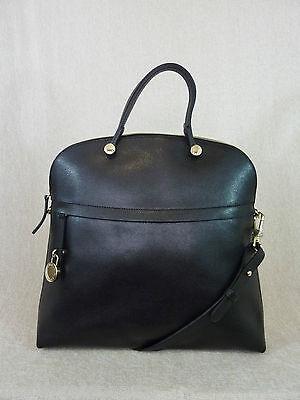 NWT FURLA Onyx/Black Saffiano Leather Piper L Bugatti Bag $498 - Made in Italy